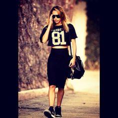 #monochrome #jersey #crop #top #midi #skirt #nike