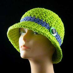 Crochet Neon cotton cloche