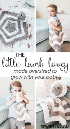 This plushy little lamb was made a bit larger than other standard lovey blankets so that she can grow along with your child! Plus I made her with some really soft, cuddly yarn. #crochet #crochetlovey #crochetlamb #lamblovey #loveyblanket #lovey #babylovey #kidslovey #freepattern #easypattern #diy #forbeginners #crochetforkids #crochetforbavies #babytoy #kidstoy #howto #sewrella