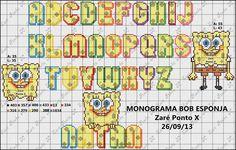 Cross stitch alphabet letters Sponge Bob