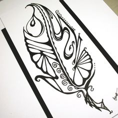 Single Feather Abstract Art . Feather Art . Tattoo Ink Drawing . Original Drawing . Black and White Drawing
