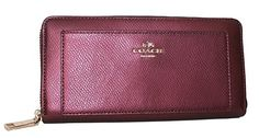 Coach Accordion ZIP Wallet in Metallic Cherry in Leather F53571 ** You can find more details by visiting the image link.