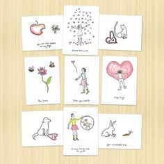 Valentines love card pack of 9 love themed by Rosieswonders