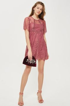 PETITE Velvet Trim Lace Flippy Dress