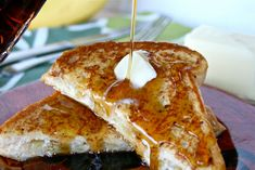 Caramelized banana and cream cheese stuffed french toast