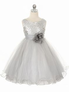 PinkPrincess.com - $48 Grey and White Available Silver Sequined Bodice w/ Double Layered Mesh Dress