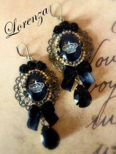 Boucles romantiques noir royal et filigranes Les par lorenza33, $46.00