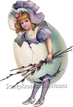Dressed as an Easter Egg ~ Vintage Easter Ephemera ~ Cross Stitch Pattern #StoneyKnobFarmHeirlooms