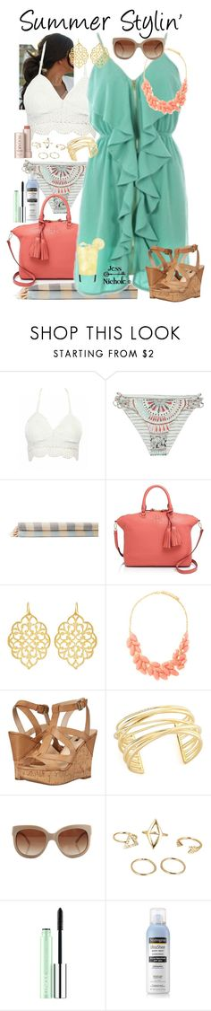 """Summer Outfit"" by jess-nichole ❤ liked on Polyvore featuring Billabong, Turkish-T, Tory Burch, Susan Shaw, Forever 21, Ultimate, GUESS, Elizabeth and James, STELLA McCARTNEY and Clinique"