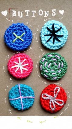 diy crochet buttons (how to: on my blog)
