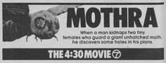 WABC-TV NYC The 4:30 Movie ad for MOTHRA in NY Metro edition of TV GUIDE 1980, 07/26-08/01.