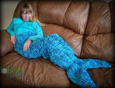 Mermaid Crochet Tail Blanket - Our post includes lots of Free Crochet Patterns as well as the Shark Blanket Crochet Free Pattern