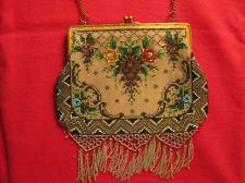 Beautyful antique beaded purse suede lining 1920's or earlier