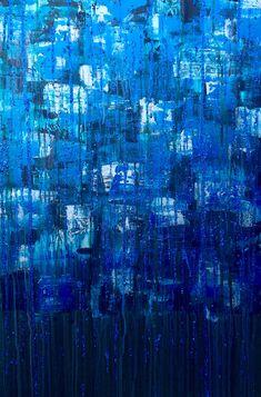 Robert - Abstract, Large, Beautiful, Painting, Modern, Acrylic, Blue, Greenish Blue, Silver, Glitter, Contemporary, Texture, Layered, Art