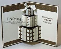 You will need: Colored cardstock for the base. I used Soft Suede Very Vanilla cardstock for the pop up insert. Note: my original uses Very V...