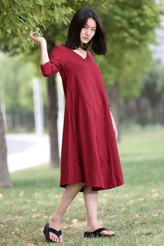 Red Linen Dress - Midi Length Loose-Fitting Plus Size V-Neck Casual Everyday Comfortable Womens Clothing CF009