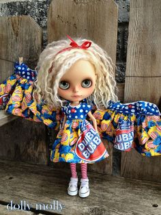dolly molly Dubble Bubble GUM dress red yellow blue for Blythe doll candy