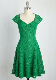 A Leading Delight Dress - Green, Solid, Crochet, Lace, Daytime Party, A-line, Short Sleeves, Better, Mid-length, Knit, Lace
