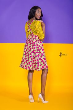 The Candy Crossback Dress Pink Yellow A-line African Dress