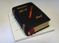 50th Birthday Cakes For Men, Birthday Book, Adult Birthday Cakes, 70th Birthday Parties, Birthday Memes, Fondant Man, Bolo Fack, Bible Cake, Religious Cakes