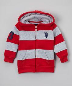 Love this Red Stripe Zip-Up Hoodie - Toddler on #zulily! #zulilyfinds