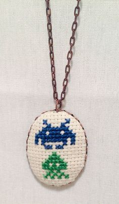 Space Invader Necklace, Retro Arcade Game Cross Stitch, Gamer Gift, Classic 8 Bit Arcade