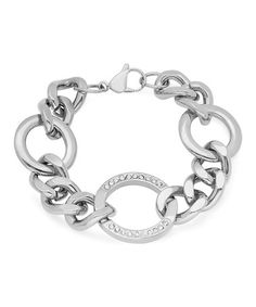 This Simulated Diamond & Stainless Steel Cuban Chain Bracelet is perfect! #zulilyfinds