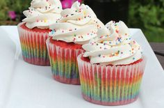 Give your cupcakes a burst of colour by making Victoria Threader's rainbow cupcakes. Full of all the colours of the rainbow, these tasty little bites will put a smile on anyone's face