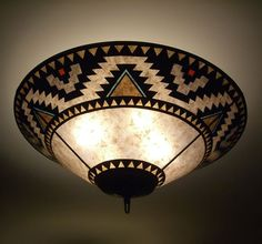 Lightning Border mica ceiling lamp - All For House İdeas American Indian Decor, Native American Decor, Native American Pictures, Southwestern Lamps, Southwestern Decorating, American Home Design, American Interior, Native American Bedroom, Chandeliers