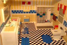 refinish vanity to look like a Lego vanity/sink?