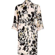 Pink floral print shirt dress $96.00