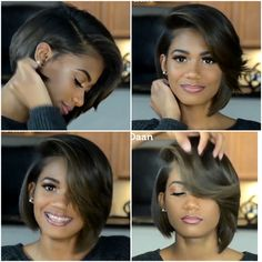 Short Bob Haircuts for Black Women Bob Hairstyles for black women Black Women Hairstyles, Girl Hairstyles, Short Weave Hairstyles, Bandana Hairstyles, Elegant Hairstyles, Pretty Hairstyles, Curly Hair Styles, Natural Hair Styles, Natural Hair Blowout