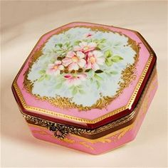 LImoges Antique Style Pink Roses Chest Box The Cottage Shop