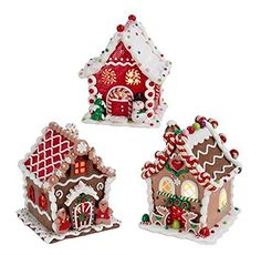 2015 Kurt Adler 3 Assorted Claydough LED Gingerbread Houses for sale online Gingerbread House Designs, Gingerbread Village, Gingerbread Decorations, Christmas Gingerbread House, Xmas Decorations, Christmas Cookies, Christmas Ornaments, Gingerbread Man, Christmas Makes