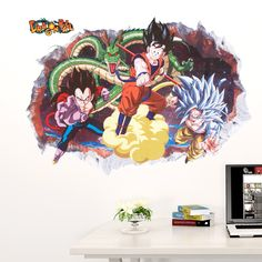 home decoration Vinyl cartoon Smashed Sun Wukong Wall Sticker kids decor removable children nursery dragon balls decals in rooms #Affiliate