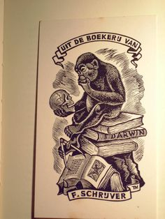 Image of book plate (ex libris) based on Rheinhold's monkey; created by Thijs Mauve.