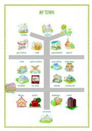 This is a map of a town with different places and a worksheet with exercises.It´s good for practicing places vocabulary and can be used for giving directions. Learn French, Learn English, English Class, 1st Grade Worksheets, Vocabulary Worksheets, Map Activities, Learning Activities, Give Directions, English Resources