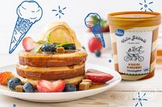 Панкейк с ягодами и мороженым - пошаговый рецепт приготовления с фото в домашних условиях French Toast, Breakfast, Recipes, Food, Morning Coffee, Recipies, Essen, Meals, Ripped Recipes