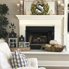 Friends! I finally added a little fall decor to my fireplace mantle and hearth. We are relaxing with the family today. I hope you're all enjoying your Sunday too!