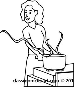 stove clipart black and white. clip art cooking outline download womancookingatstoveoutline stove clipart black and white