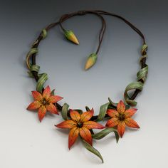 Tiger lily collar Single and triple flower necklaces available. Each unique...