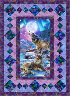 Free eQuilter Pattern - Wolf Moon - x - Cyndy Davis - Re-Wilding Quilting Projects, Quilting Designs, Quilting Ideas, Quilt Block Patterns, Quilt Blocks, Moose Quilt, Fabric Panel Quilts, Fabric Panels, Quilt Boarders