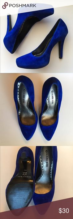 """Gianni Bini Honey Blue Suede Heels Royal blue suede heels. 4.5"""" heel (including platform). Really good condition. Few scuffs are barely noticeable. Only worn a few times. Gianni Bini Shoes Heels"""