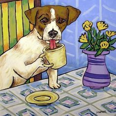 jack russell TERRIER coffee CERAMIC dog art tile