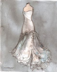 Original - Watercolor and Charcoal Painting - Custom Wedding Dress Painting - Wedding Gift - Anniversary Gift - Bridal Shower - 11x14 by Lauren Maurer from Etsy Shop laurenspaintpalette ($190)