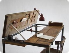 wonderfully rustic and simple to build.  [wood, metal, desk]