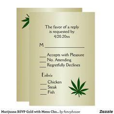 Marijuana RSVP Gold with Menu Choice Invitation