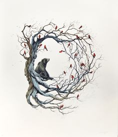 Candice Tripp. bear. birds. nest. tree. animals. art. illustration. Tattoo