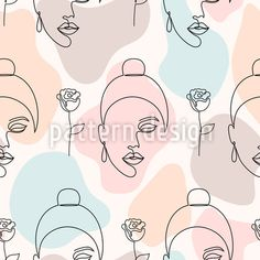 Roses And Dreaming Women Vector Design by Iuliia Skorupych at patterndesigns.com Vector Pattern, Pattern Design, Line Patterns, Vector Design, Line Art, Your Design, Roses, Shapes, Floral