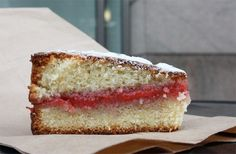 Almond Cake with Strawberry-Rhubarb Puree at Locanda Verde, New York NY // Serious Eats